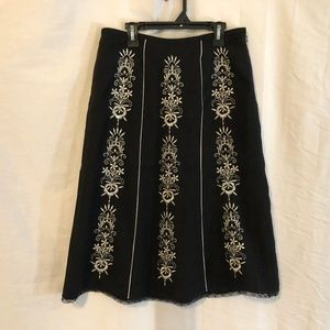 Ann Taylor LOFT 4 Skirt Embroidered Lace Black 296